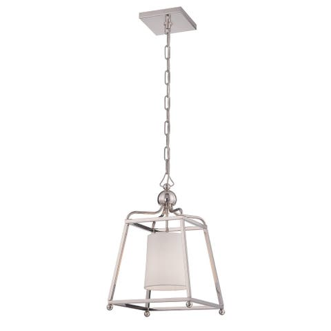 Libby Langdon for Crystorama Sylvan 1 Light Polished Nickel Pendant - 11.5'' W x 18.25'' H