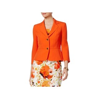 Kasper Womens Petites Blazer 2 Button Notch Collar