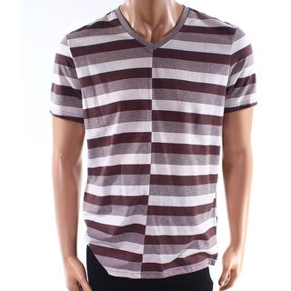 INC NEW Rum Purple Mens Size Large L V Neck Striped Stretch Tee T-Shirt 130