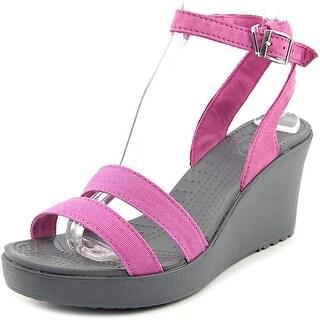 Crocs Leigh Wedge Women Open Toe Canvas Purple Wedge Sandal