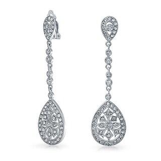 Bling Jewelry Pave CZ Teardrop Chandelier Clip On Earrings Rhodium Plated Brass