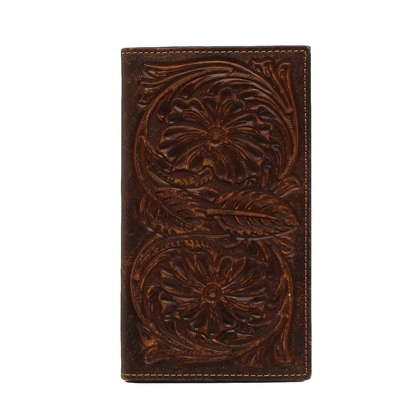 Ariat Western Wallet Mens Rodeo Floral Embossed Slots Brown - One size