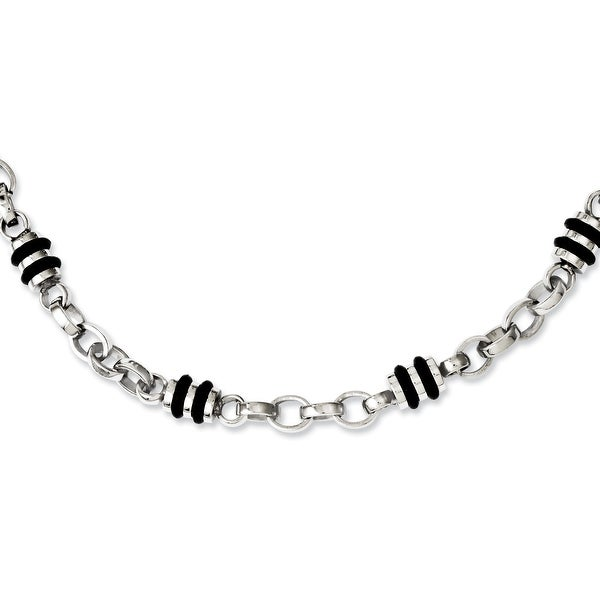 Chisel Stainless Steel and Rubber Accent Barrel Link Necklace (6 mm) - 22 in