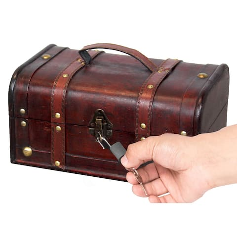 Decorative Vintage Wood Treasure box - Wooden Trunk Chest with Handle