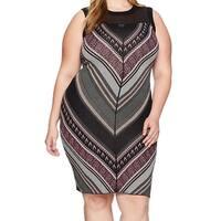 RACHEL Rachel Roy Black Womens Size 1X Plus Chevron Sheath Dress