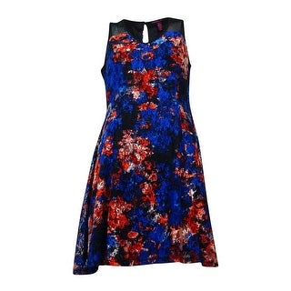 Material Girl Juniors Floral Lace Fit-and-Flare Dress (Mazarine Blue, M) - Mazarine Blue - M