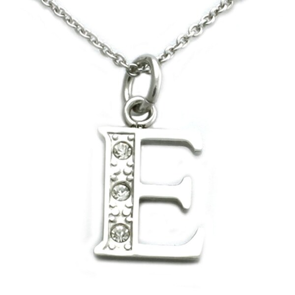 Stainless Steel Alphabet Initial Pendant w/ CZ Stones - Letter E - 18 inches