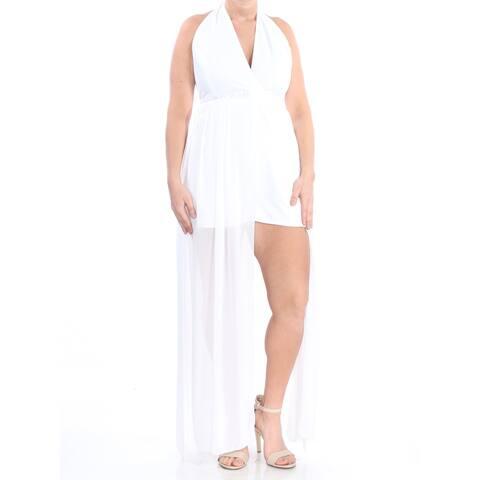 XOXO Womens White With Chiffon Skirt Halter Evening Romper Juniors Size: S