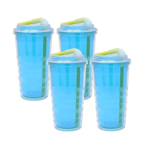 Copco Lock-N-Roll Insulated Tumbler & Flip Up Straw BPA Free 16 Oz 4 Pack - Teal