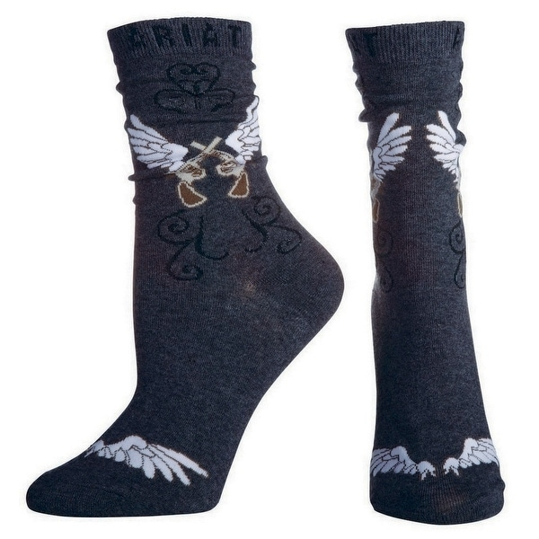 Ariat Socks Womens Western Pistols Wings Ankle Charcoal