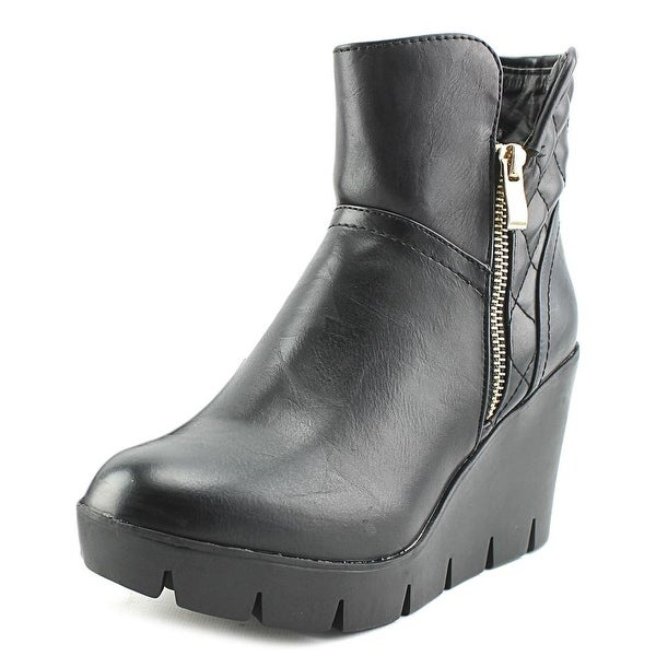Modern Rush Kassy Women Round Toe Leather Black Ankle Boot