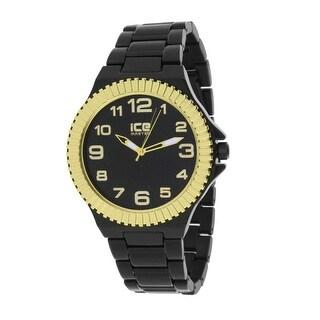 Mens Black Designer Watch Black Dial Gold Tone Fluted Bezel Ice Time Analog Display Stainless Steel Back Quartz