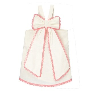 Little Girls Ivory Fuchsia Scalloped Lace Trim Bow Accent Sleeveless Shirt 12M-6