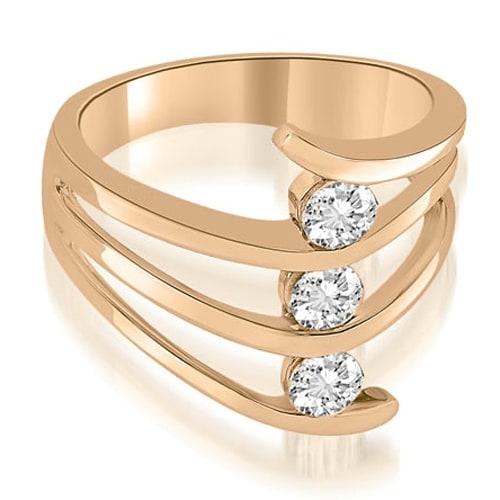 0.75 cttw. 14K Rose Gold Three Stone Tension Split Shank Diamond Wedding Ring