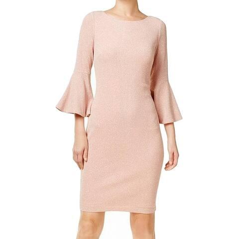 c360dbb3 Calvin Klein Pink Women's Size 6 Glitter Bell Sleeve Sheath Dress