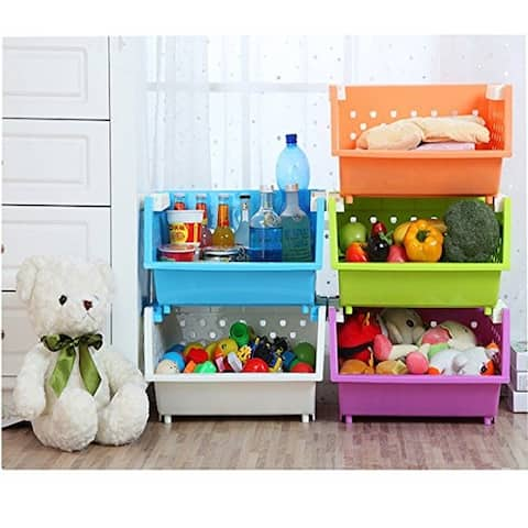 Kanstar 3 Baskets Kids' Toys Storage Organizer with Wheels / Large Basket (Purple&Blue&Green (one for each color)
