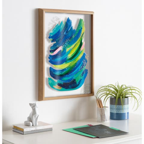 Kate and Laurel Blake Bright Abstract 2 Framed Printed Glass by Jessi Raulet of Ettavee - Natural