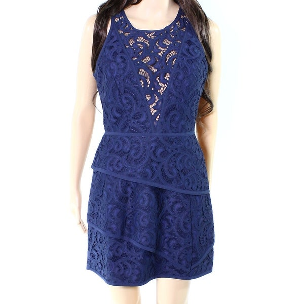d1ee9072 Shop BCBG Max Azria NEW Navy Blue Womens Size 6 Tiered Lace A-Line ...