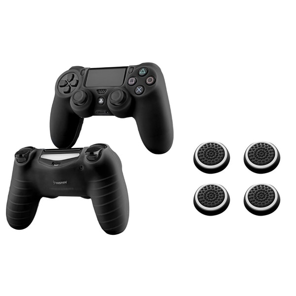 Insten 2-piece Black Silicone Skin Case/ 4-piece Set White Controller Analog Thumbstick Cap for Sony Playstation 4 PS4