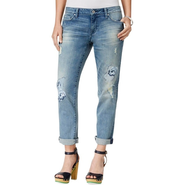 1d74a1148 Tommy Hilfiger Womens Copain Boyfriend Jeans Embroidered Destroyed