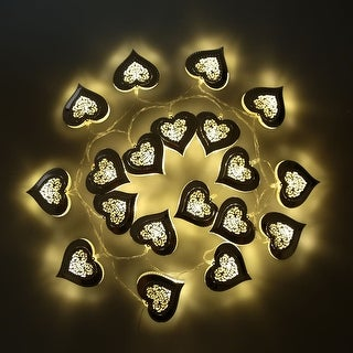2.1M 20 LED Warm White Silver Metal Heart Pendant String Lamp Fairy Light for Party Christmas Home Room Decor Gift