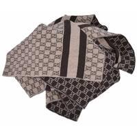 Gucci 438253 Taupe Brown Wool Web Stripe GG Guccissima Scarf Muffler