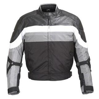Men Black Grey White Textile/Leather Motorcycle Jacket Reflective Stripes