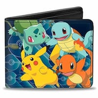 Pikachu & Kanto Starter Pokmon Pok Ball Rays Blues Bi Fold Wallet - One Size Fits most