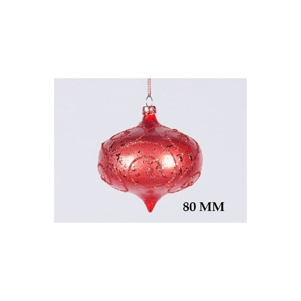 Christmas at Winterland WL-ONION-80-RE 3 Inch Onion Ornament Red with Red Glitter - N/A
