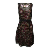 Jessica Simpson Women's Printed Sheer Grid A-Line Dress - Black Multi - 10