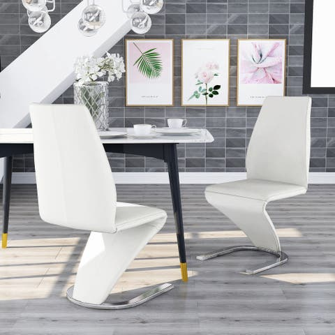 Furniture of America Borm Contemporary White Dining Chairs (Set of 2)
