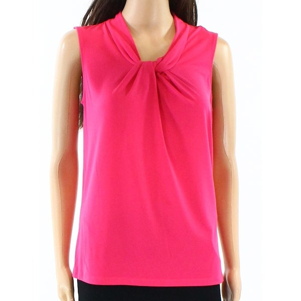 1d09f662e89f67 Shop Karl Lagerfeld NEW Pink Women s Size XS Knot-Front Solid Tank Top -  Free Shipping On Orders Over  45 - Overstock - 20679949
