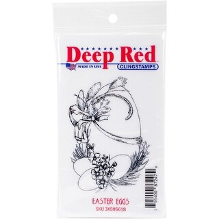 Deep Red Stamps Easter Eggs Rubber Cling Stamp - 2.1 x 3