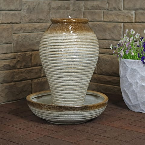 Sunnydaze Ceramic Pottery Vase Outdoor Water Fountain with LED Lights - 26-Inch