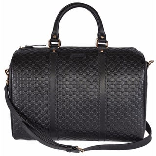 GUCCI Black Leather Micro GG Guccissima Convertible Boston Handbag