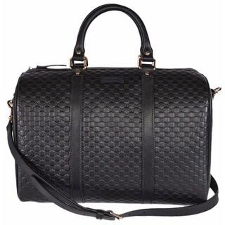 GUCCI Black Leather Micro GG Guccissima Convertible Boston Handbag