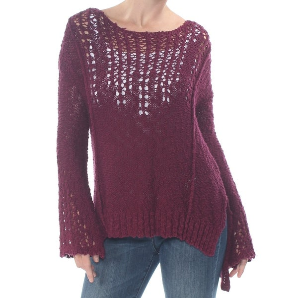 ARIZONA Womens Maroon Knit Bell Sleeve Jewel Neck Sweater Size XS