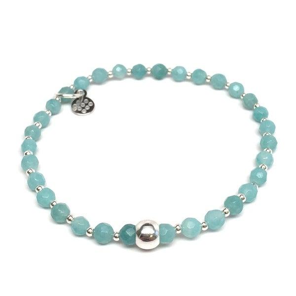 "Mint Amazonite Kara 7"" Sterling Silver Stretch Bracelet"