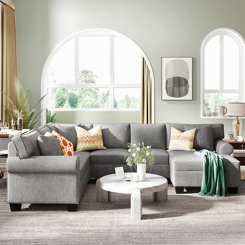 3 pcs Upholstered Rolled Arm Classic Sectional Sofa