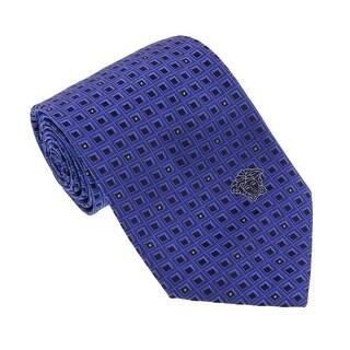 Versace Bluette Woven Geometric Grid Tie