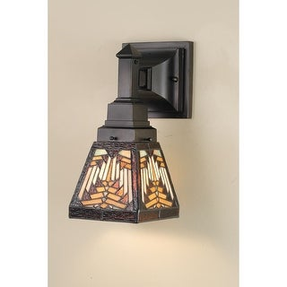 Meyda Tiffany 66524 Stained Glass / Tiffany Down Lighting Wall Sconce from the Mission Collection - Tiffany Glass - N/A