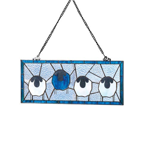 River of Goods Sheep Window Panel - Stained Glass Art Glass Sun Catcher Hanging - 20 in. x 8 in.