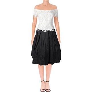 Alex Evenings Womens Petites Evening Dress Lace Bodice Tiered - 10P