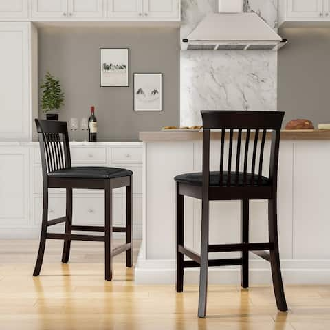 Copper Grove Floresti Black Slat-back Counter Stool
