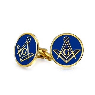 Gold Plated Steel Blue Enamel Freemason Masonic Symbol Cufflinks