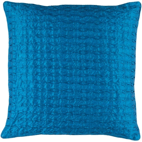"20"" Teal Blue Contemporary Pattern Quilted Square Throw Pillow with Knife Edges"