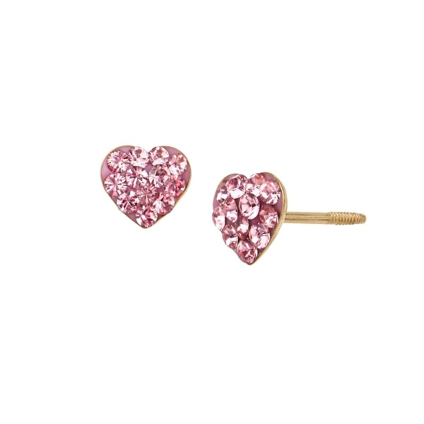 Crystaluxe Girl's Heart Stud Earrings with Rose Swarovski Crystals in 14K Gold