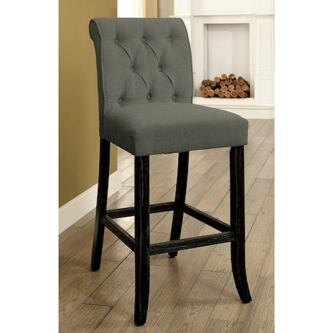Furniture of America Sheila Contemporary Grey Button Tufted Bar Chairs (Set of 2)
