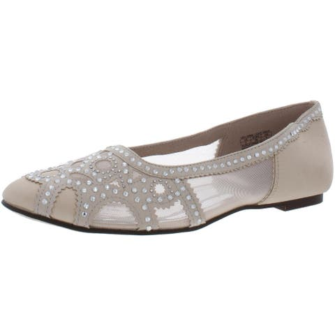 Badgley Mischka Womens Gigi Gems Ballet Flats Rhinestone Slip On - Light Gold - 5 Medium (B,M)