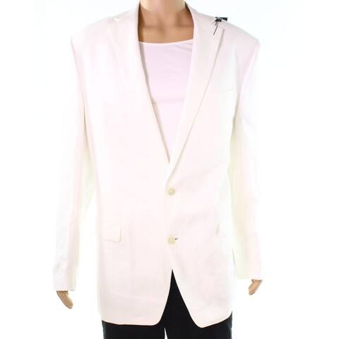 Lauren By Ralph Lauren Mens White Ivory Size 43R Two Button Blazer